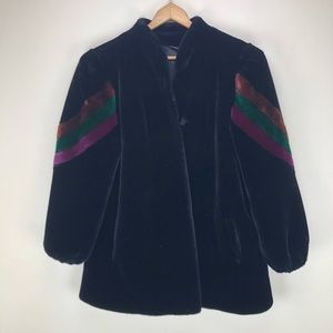 Vintage XL Fur Coat In Black with Shoulder Detail